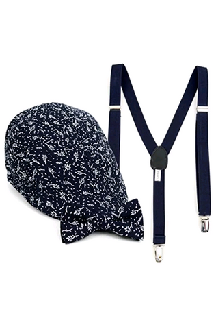 Boy's Navy Clip-on Bow Tie Suspender Floral Pattern,Matching Ivy Hat Set (4-7 Years