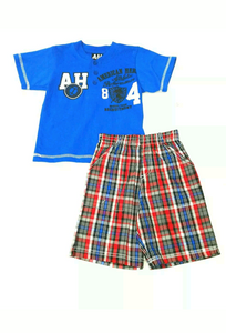 Boys Plaid Shorts Set