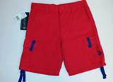 U.S. Polo Assn. Red Blue Cargo Shorts Boy's size 3T Adjustable Waist