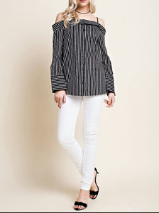 Black And White Stripe Off The Shoulder Blouses - Little N Kute Boutique