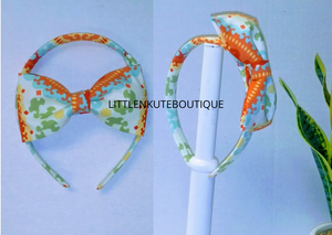 Interchangeable Fabric over Plastic Headband w/ Matching Bow - Little N Kute Boutique