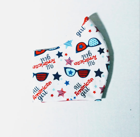 American Girl Cotton Fabric Mask - Washable & Reusable - Little N Kute Boutique