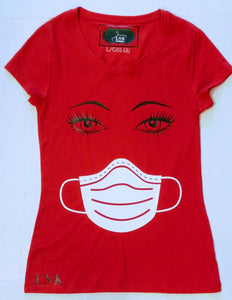 Eyelashes With Face Mask Women's Funny T-shirt