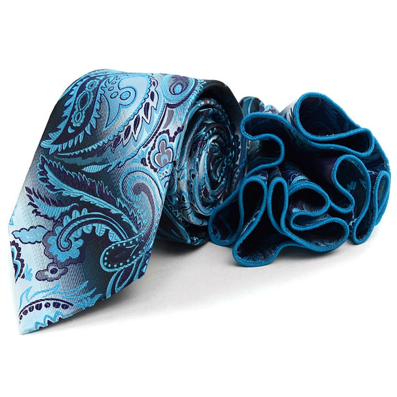 Men's Paisley Tie & Matching Pocket Round Set - Little N Kute Boutique