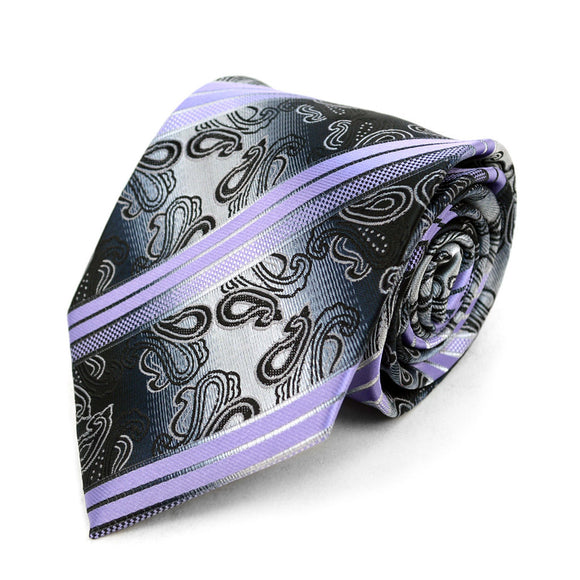 Men's Stripes Necktie  Microfiber Poly Woven Tie - - Little N Kute Boutique