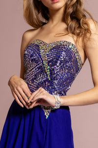 Strapless long  prom dress - Little N Kute Boutique