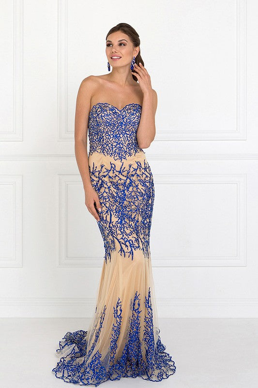 BLUE/NUDE STRAPLESS BEADED MERMAID GOWN BY ELIZABETH   - Little N Kute Boutique
