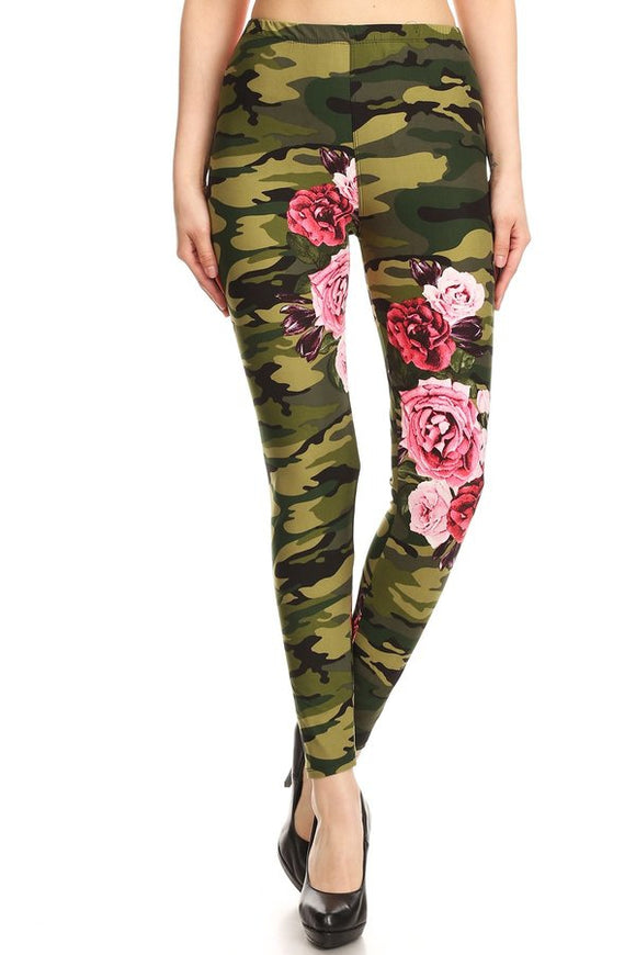 Women's  Green Camouflage Leggings - Little N Kute Boutique