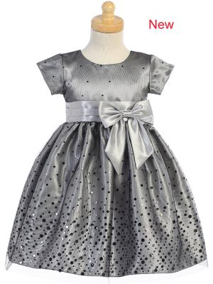 BIG GIRLS SILVER POLKA DOT TULLE SHINY SATIN BOW CHRISTMAS DRESS 2T -10 - Little N Kute Boutique