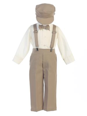 Khaki Longsleeves Boys Suspender Pants Set w/ Hat