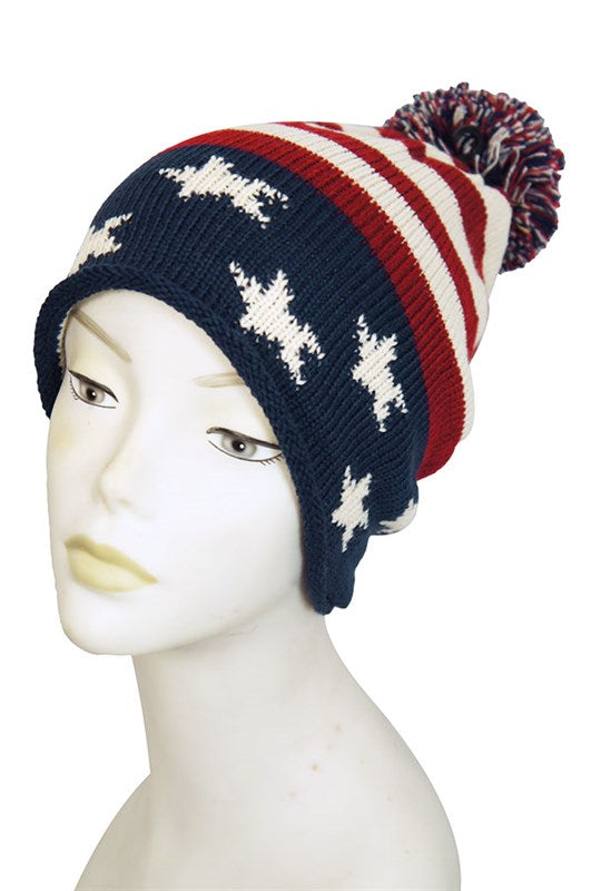 Vintage Red White & Blue American Flag Knit Pom Pom Beanie Hat - Little N Kute Boutique