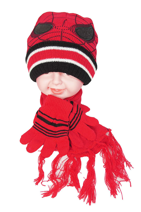 Kids Winter Boys Girls Spider Hat + Scarf + Gloves 3pcs Set - Little N Kute Boutique