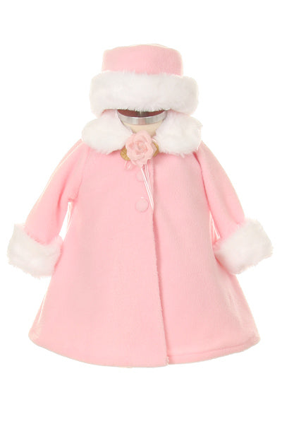 Fleece Faux Fur Collar Stylish Coat Baby Girl 6-24M - Little N Kute Boutique