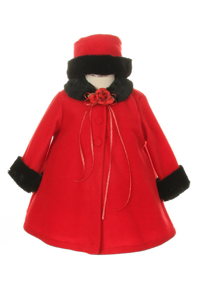Red Black Fleece Faux Fur Collar Stylish Coat Baby Girl 6-24M - Little N Kute Boutique