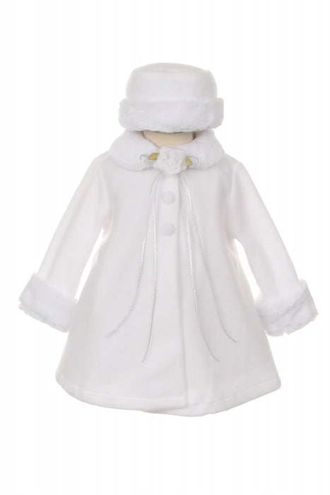 White Fleece Faux Fur Collar Stylish Coat Baby Girl 6-24M - Little N Kute Boutique