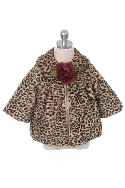 Brown Animal Print Faux Fur Coat BabyToddler Girl - Little N Kute Boutique