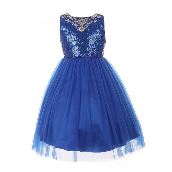 LITTLE GIRLS ROYAL BLUE  DRESS SEQUIN RHINESTONE SATIN TULLE FLOWER GIRL  2-6 - Little N Kute Boutique