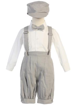 Light Gray Suspender Boys Knickers w/ Hat - Little N Kute Boutique