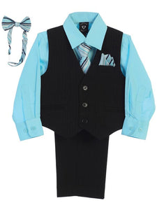 Boys Aqua Shirt Zipper Tie Bow Tie Vest Pant Set  Size 6M-12Y - Little N Kute Boutique