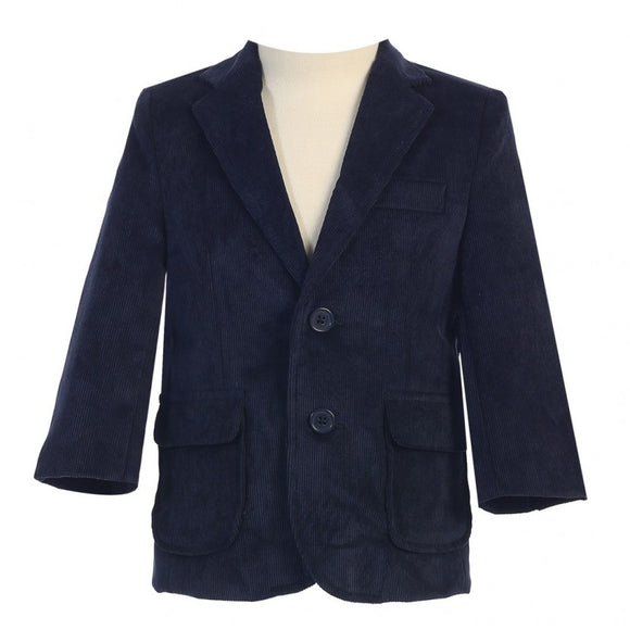 BIG BOYS NAVY TWO BUTTON CORDUROY EASTER BLAZER LITO 605 - Little N Kute Boutique