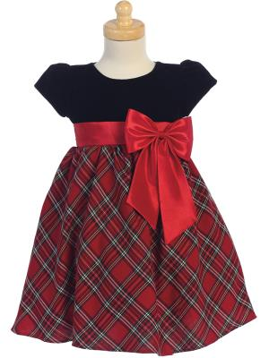 Lito Baby Girls Red Black Velvet Plaid Taffeta Bow Christmas Dress 3-24M