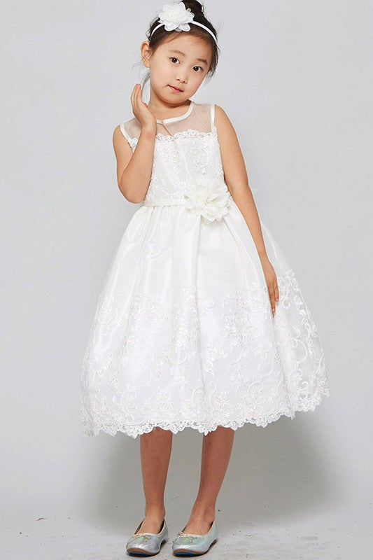 Girls White Floral lace Dress - Little N Kute Boutique