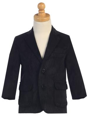 BIG BOYS BLACK TWO BUTTON CORDUROY EASTER BLAZER LITO 605