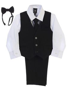 Boys Black / White Shirt Zipper Tie Bow Tie Vest Pant Set  Size 6M-12Y - Little N Kute Boutique