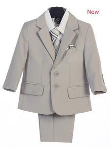 Boys  Light Gray Suits 5 pc Jacket  Suit By Lito 3582 - Little N Kute Boutique