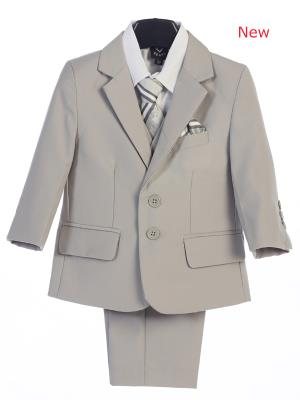 Boys  Light Gray Suits 5 pc Jacket  Suit By Lito 3582