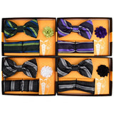 Men's  Bow Tie w/Matching Hanky & Lapel Pin Set