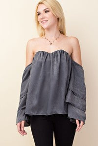 Grey Off The Shoulder Blouses - Little N Kute Boutique