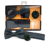 Men's Geometric  Banded Bow Tie, Matching Hanky & Lapel Pin Set - Little N Kute Boutique