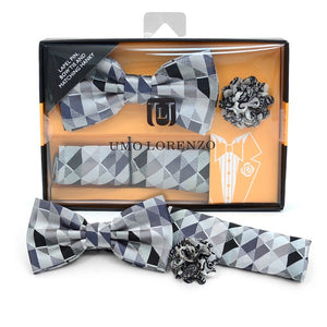 Men's Geometric  Banded Bow Tie, Matching Hanky & Lapel Pin Set