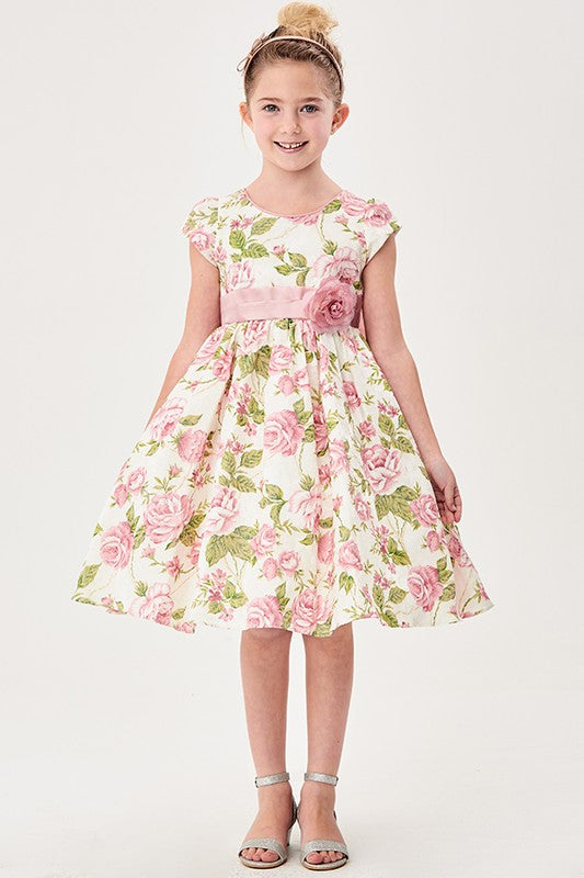 Little Girls Pink Flower Jacquard Print  Dress - Little N Kute Boutique