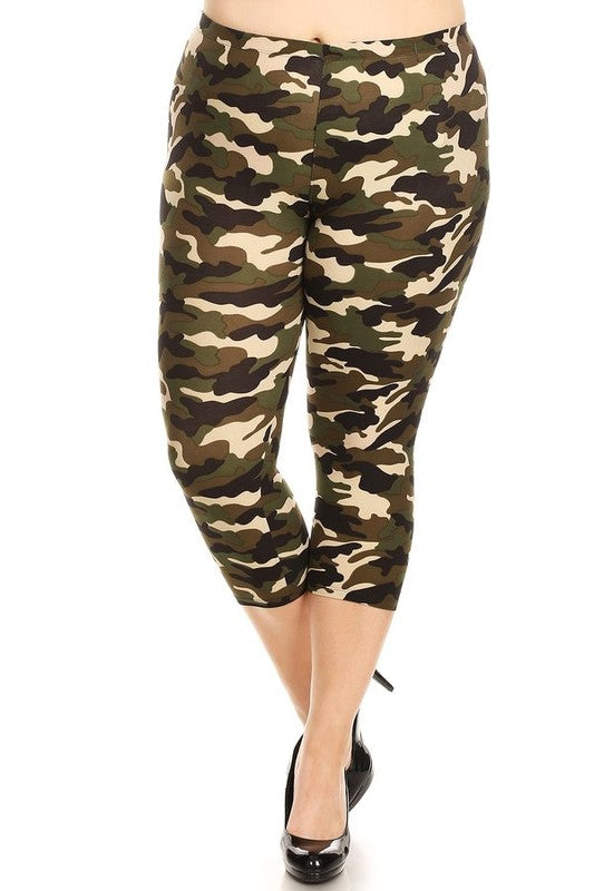 Women's Army Camouflage Capri Leggings - Little N Kute Boutique