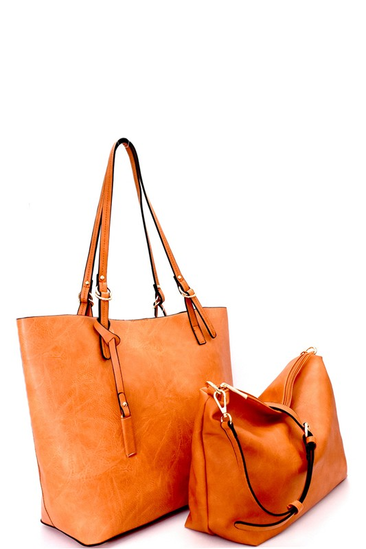 Textured Faux leather 2 in 1 tote/ handbags - Little N Kute Boutique