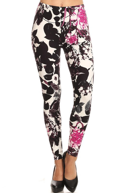 Women's  Floral Leggings One Size - Little N Kute Boutique