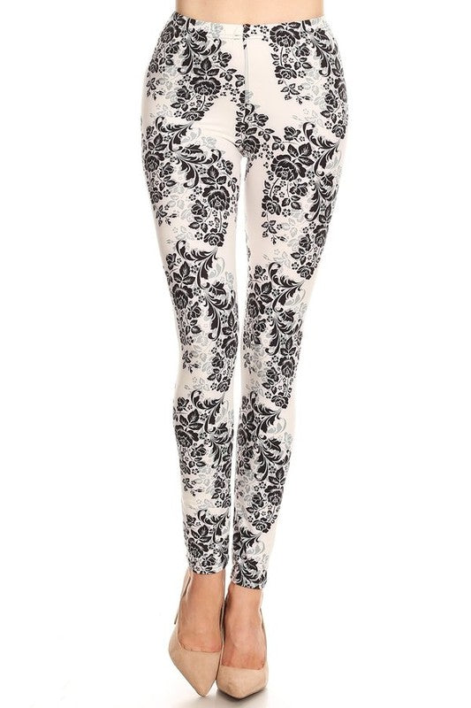 Women's Black White  Floral Leggings One Size - Little N Kute Boutique