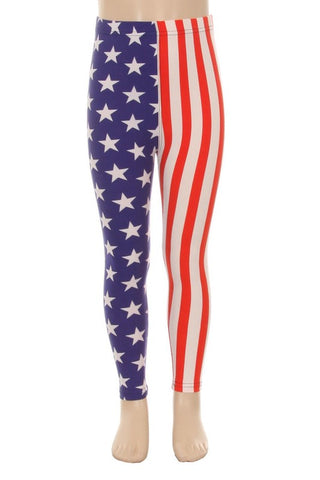 Girls  4th of July American Flag Leggings Pants /