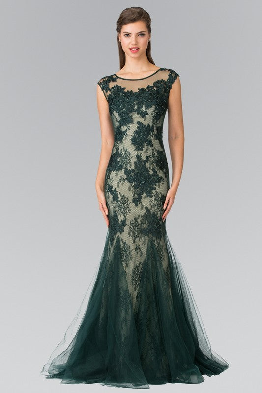 Elizabeth K GL2276 Floral Embroidered Lace and Tulle Full Length Gown - Little N Kute Boutique