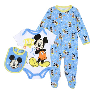 MICKEY MOUSE Boys 0-9M Newborn 3-Piece Creeper Pant Sleeper Set - Little N Kute Boutique