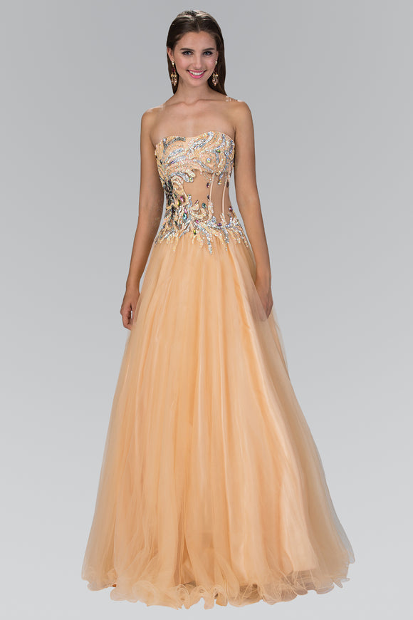 Elizabeth K - Strapless Embellished Long Gown GL1045