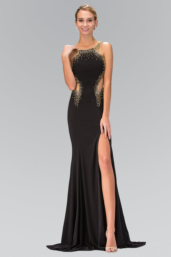 Long Prom Dress Side Slit and Sheer Waist - Little N Kute Boutique