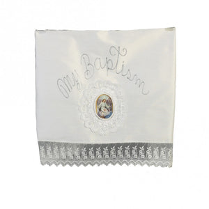 BABY GIRLS WHITE LACE SHANTUNG EMBROIDERED CHRISTENING BLANKET - Little N Kute Boutique