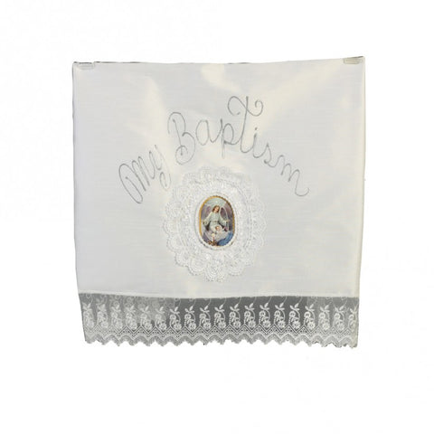 BABY GIRLS WHITE LACE SHANTUNG EMBROIDERED CHRISTENING BLANKET