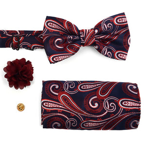 Red Multi Color Paisley Banded Bow Tie Set - Little N Kute Boutique