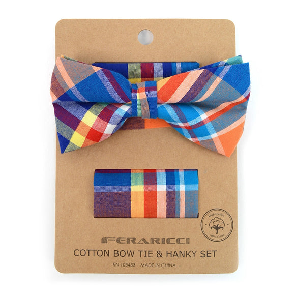 Men's Plaid Cotton Bow Tie & Matching Pocket Square