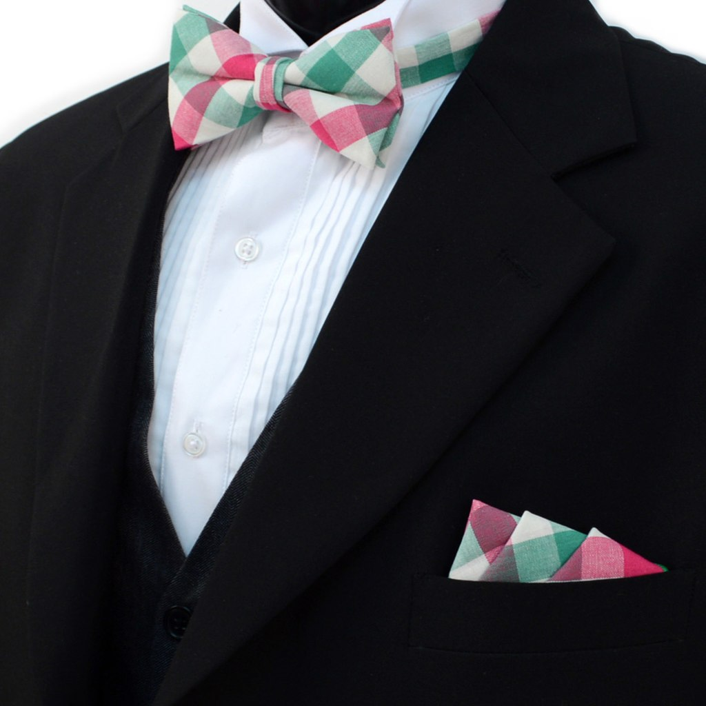 03365d0cd147 ... Men's Pink Green Plaid Cotton Bow Tie & Matching Pocket Square - Little  N Kute Boutique