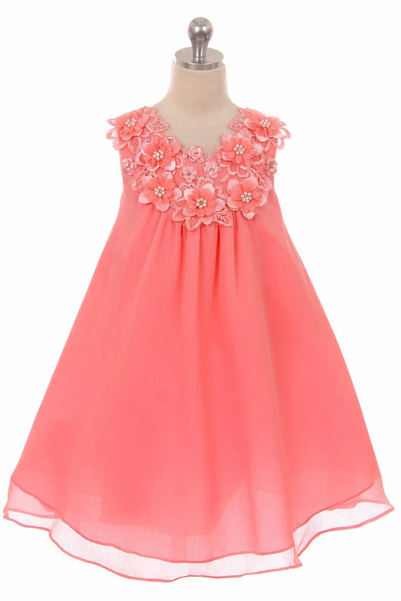 Good Girl Coral Floral V-Neck Dress - Little N Kute Boutique